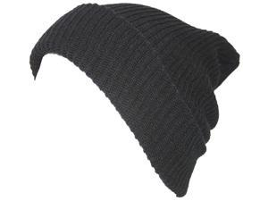 TopHeadwear GI Long Ribbed Slouch Watch Waffle Beanie - Black