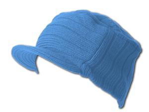 Flat Top Jeep Cap - Stylish Beanie Ribbed Cap - Sky Blue