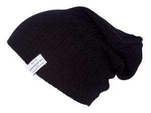 Soft Ribbed Beanie Slouch Knit Hat, Black