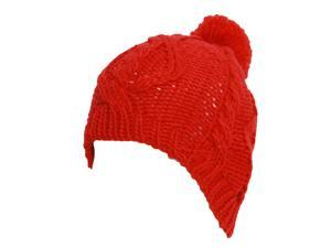 Red Cable Knitted Beanie w/ Pom