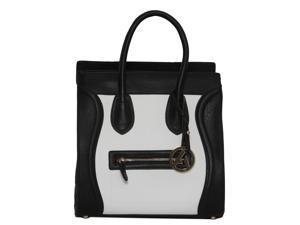 "Womens Designer ""Poitiers"" Tote Structured Shoulder Handbag - Black/White"