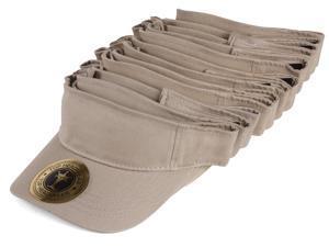 Blank Adjustable Visors - 12-Pack - Khaki