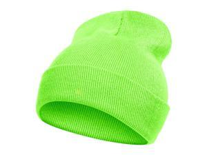 New Solid Winter Long Beanie - Neon Green