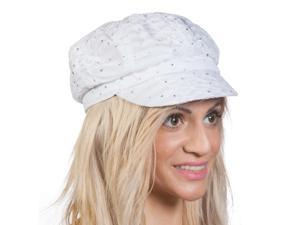 TopHeadwear Glitter Sequin Trim Newsboy Hat - White