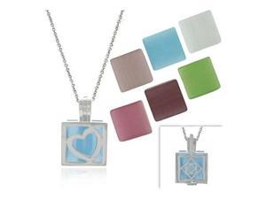 Sterling Silver .925 Glass Cats Eye 7 stone interchangeable Square Pendant Set