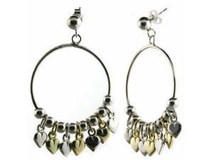 Sterling Silver & Gold Overlay Two Tone Dangling Heart Earrings.