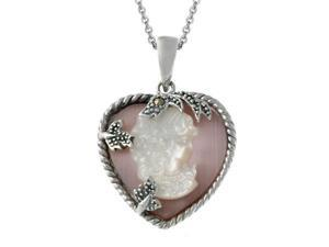 Sterling Silver Pink Shell & Marcasite Woman Cameo Pendant