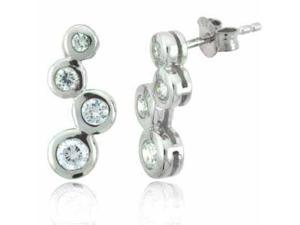 Sterling Silver Designer Simulated Diamond CZ Bubble Earrings