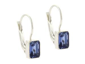Sterling Silver Tanzanite cz stone emerald cut LeverBack Lever Back Earrings