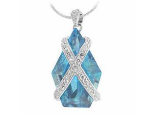 Sterling Silver Simulated Diamond CZ X and Simulated Aquamarine Cubic Zirconia P