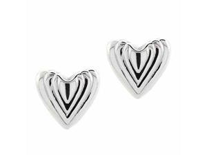Sterling Silver Ribbed Heart Within A Heart Valentine's Day Earrings