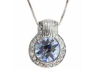 Sterling Silver Round Lavender and Simulated Diamond CZ Circle Pendant