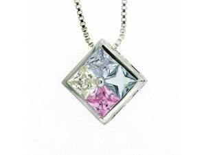 Sterling Silver Multi Color Pink, Light Yelllow,Lavender, and Light Blue CZ Colo