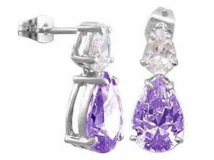 Simulated Amethyst Cubic Zirconia and Simulated Diamond CZ Post earrings