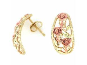 Vermeil (24kt Gold over Silver) Two Tone Rose and Leaf Earring