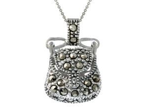 Sterling Silver & Marcasite Novelty Purse Pendant