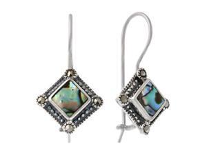 Sterling Silver Marcasite & Abalone Diamond Shaped Earrings