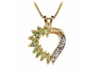 Vermeil (24k Gold over Sterling Silver) Genuine Diamond Accent and Peridot Stone
