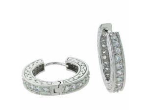 Sterling Silver Simulated Diamond CZ Hoop Earrings