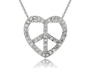 Sterling Silver CZ Heart Peace Sign Pendant
