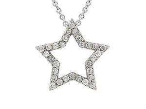 Sterling Silver Designer-Inspired CZ Star Novelty Pendant
