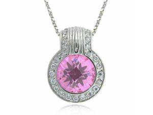 Sterling Silver Pink Cubic Zirconia and Simulated Diamond CZ round Pendant