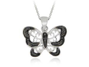 Sterling Silver Black Diamond Accent Butterfly Pendant