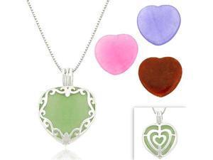 Sterling Silver Heart Multi Color Interchangable Pendant