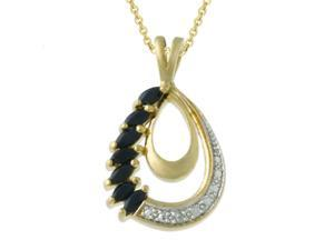18k Gold over Silver Diamond Accented Sapphire Teardrop Pendant
