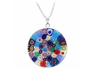 Sterling Silver Millefiori Flower Murano Glass Circle Pendant - Made in Italy