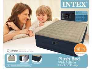 INTEX Queen Ultra Plush Air Bed Raised Airbed Mattress & Pump Kit | 67709E