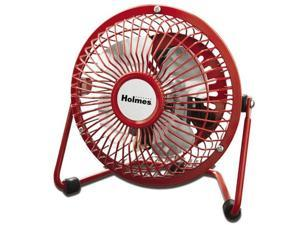 "Holmes HNF0410A-RM 4"" Personal Mini Fan Adjustable Tilt Head Metal - Red"