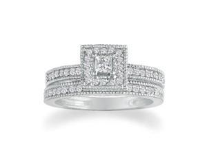 1/2ct Princess Diamond Bridal Set in 14k White Gold