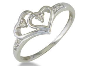 Double Heart Diamond Promise Ring in Sterling Silver in Sizes 4-9.14