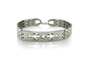 "Stainless Steel and Carbon Fiber Men's Bracelet 8 3/4"""