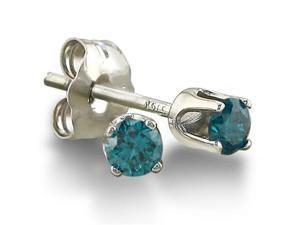 1/10ct Blue Diamond Stud Earrings in Sterling Silver