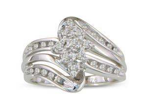 1/4ct Diamond Cluster Flower Ring in Sterling Silver