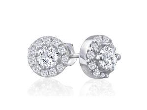 1/4ct Diamond Stud Earrings With Pave Diamonds Surrounding in WG