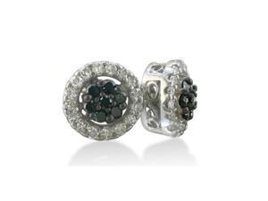 1/2ct Circle Flower Black and White Diamond Earrings in 10k White Gold