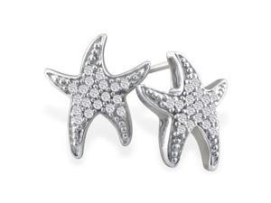 1/5ct Diamond Starfish Earrings in 10k White Gold