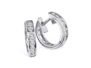 1/4ct Huggy Hoop Diamond Earrings in 10k White Gold!