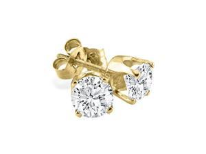 1ct Bargain Diamond Stud Earrings In 14k Yellow Gold