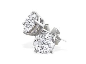 Platinum 1ct Diamond Stud Earrings I-J Color I1-I2 Clarity