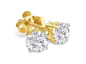 1 1/2ct G/H SI/VS Round Diamond Stud Earrings In 14k Yellow Gold
