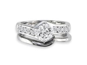 Sleek and Modern 1.65ct Diamond Bridal Set in 14k White Gold