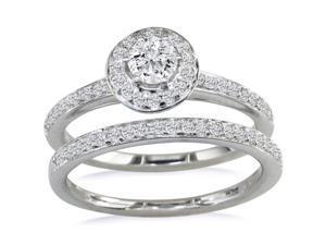 Gorgeous 1/2ct Pave Diamond Bridal Set, Round Center in 14k WG