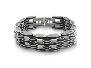 Huge Men's Stainless Steel and Black Rubber Bracelet