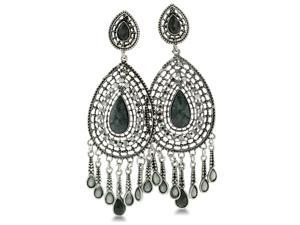 Elegant Circular Gold Tone Dangle Earrings with Jet Black and Gray Crystals, 4 Inches