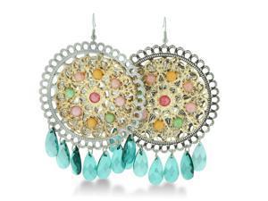HUGE Circular Gold Tone Green Beaded Floral 3 Inch Dangle Drop Earrings