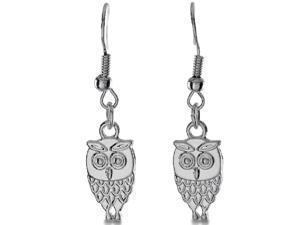 Miniature Silver Tone Owl Dangle Earrings, 3/4 Inches Long